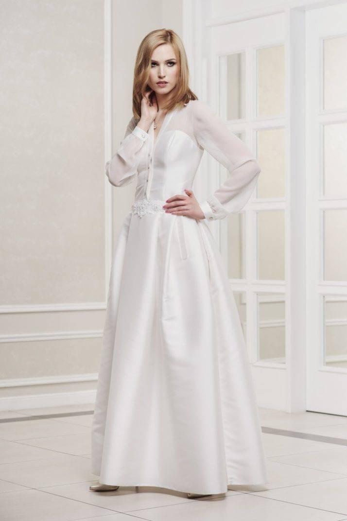 suknia ślubna z rękawem z mankietem i kieszeniami