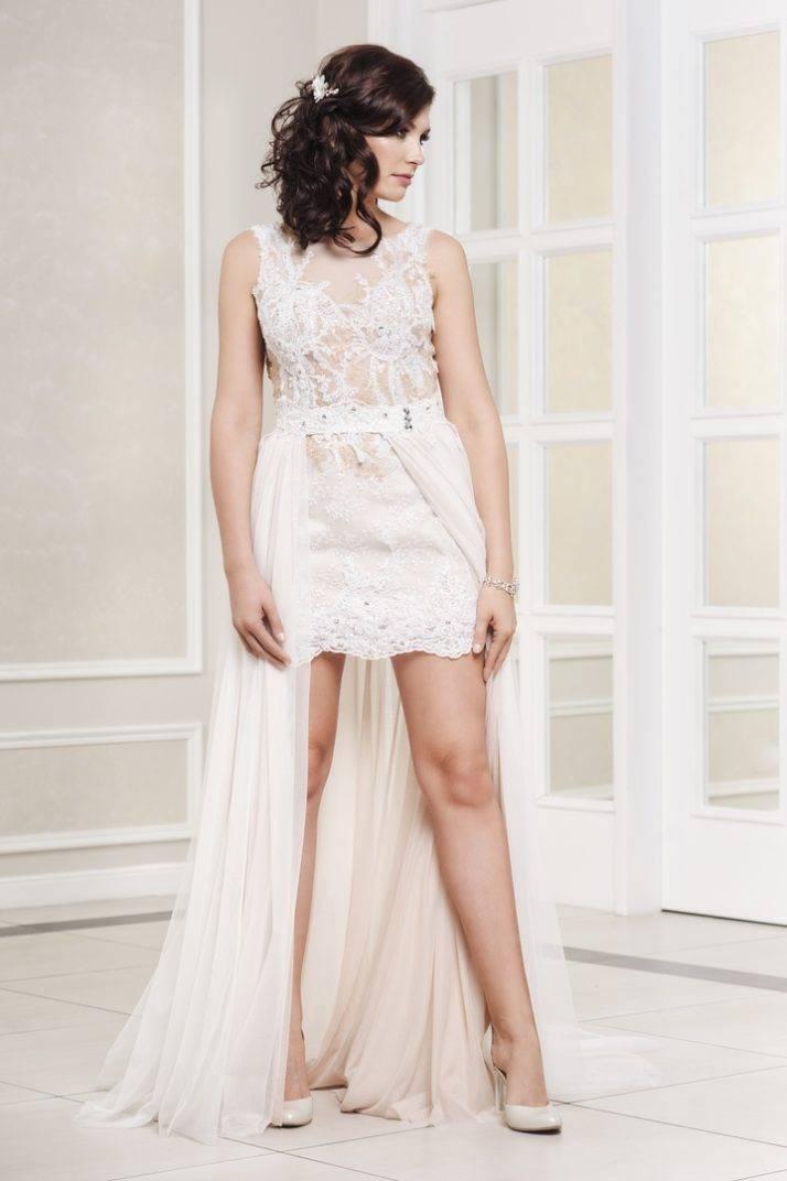 sukienka ślubna na siatce z odpinaną spódnicą
