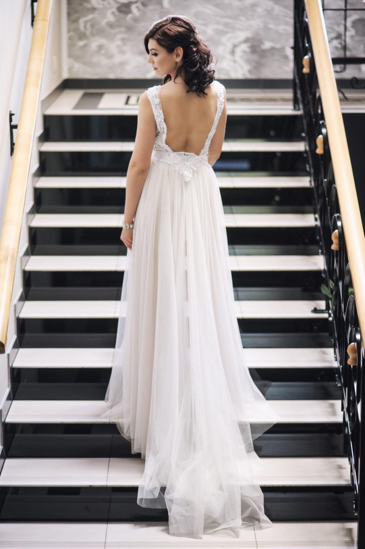 sukienka ślubna z odpinaną spódnicą z tiulu