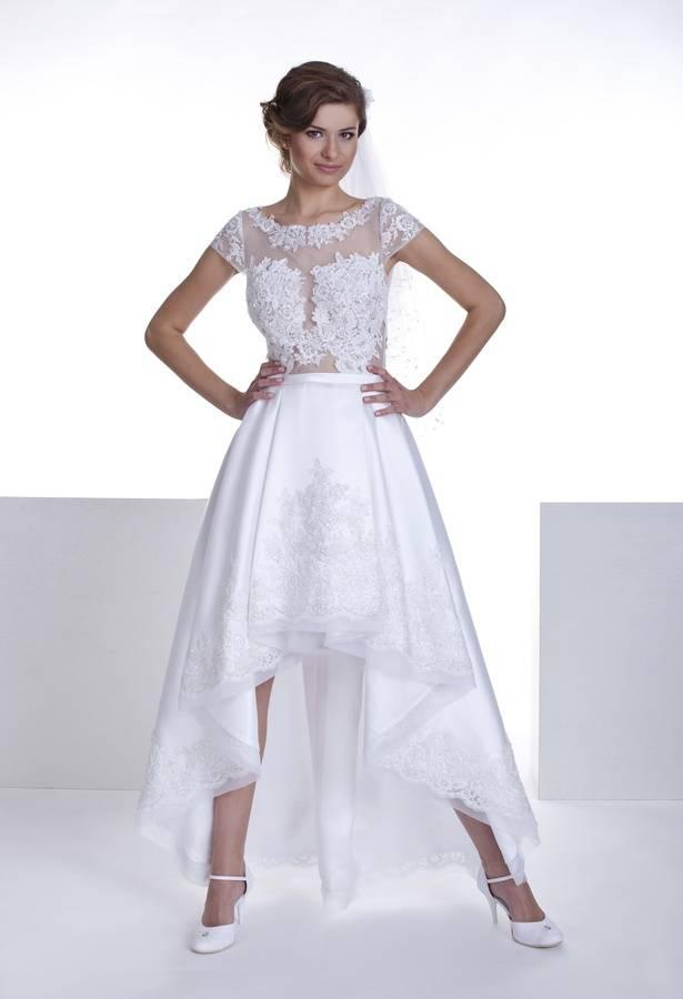 suknia zkoronki iatłasu