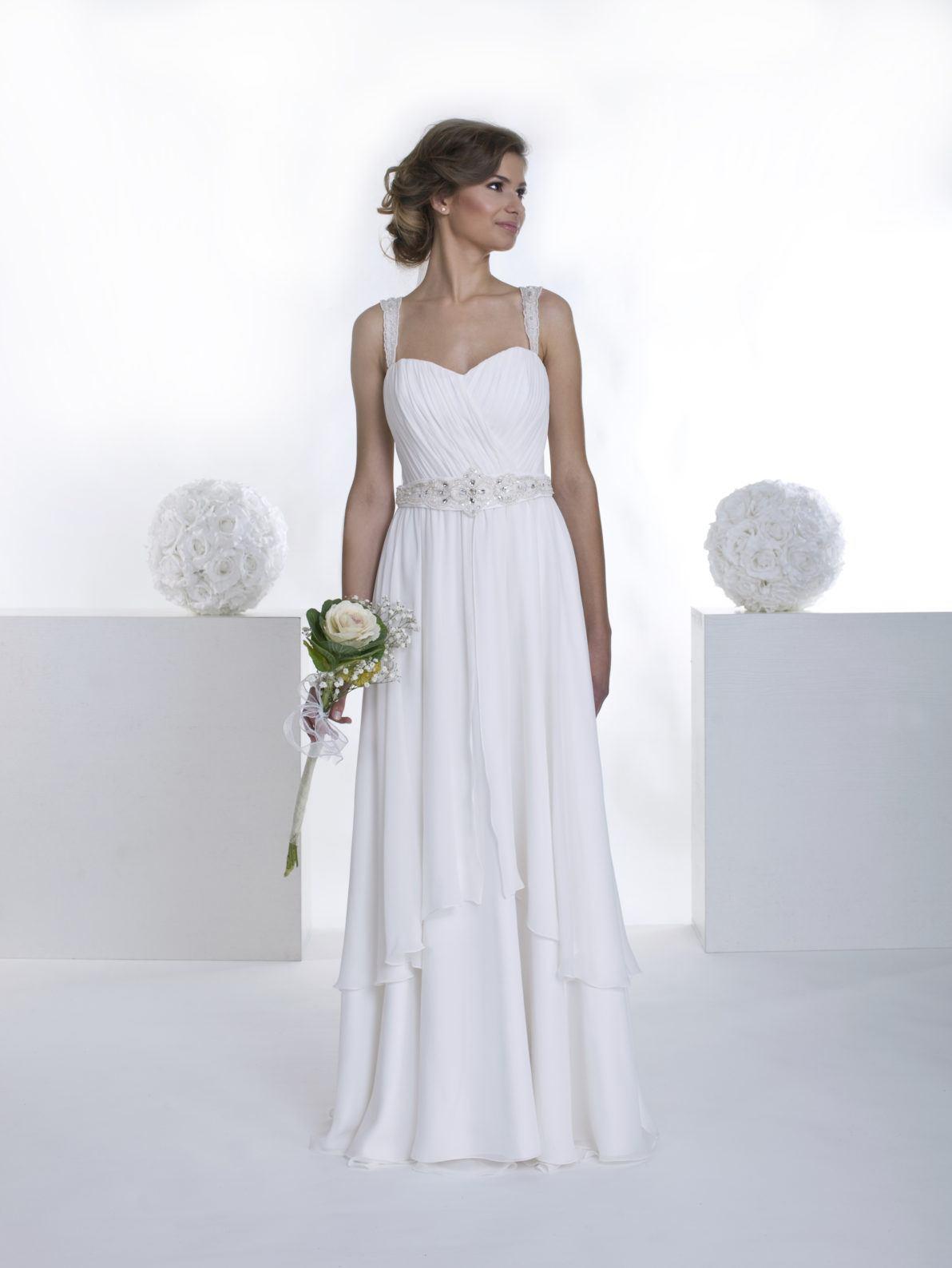 suknia ślubna w stylu greckim z gorsetem na szeleczkach