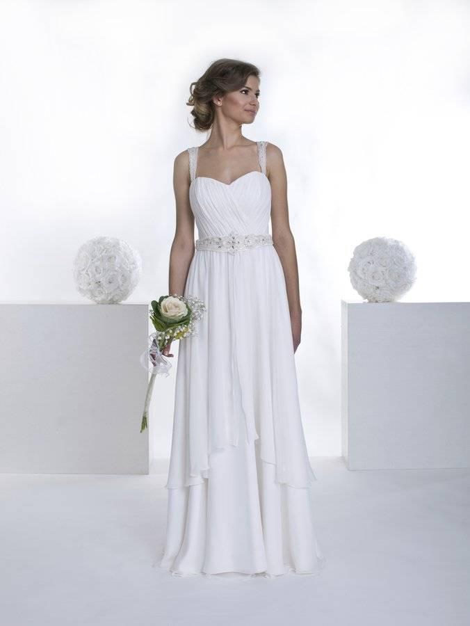 suknia ślubna wstylu greckim zgorsetem naszeleczkach
