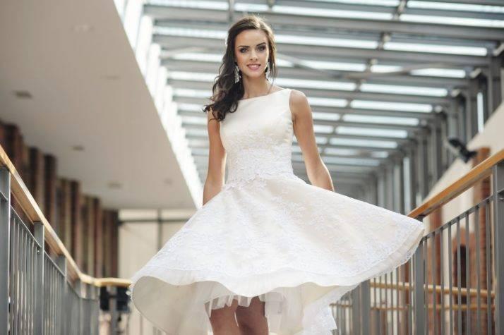 krótka rozkloszowana sukienka napoprawiny zhalką