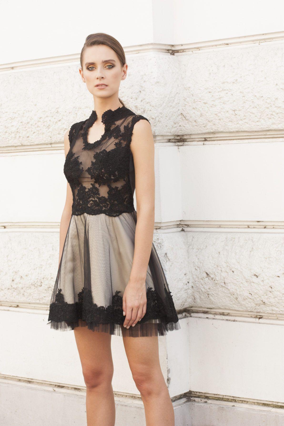 sukienka koktajlowa beżowo czarna